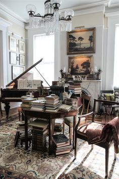 Piano room lined with antiques.