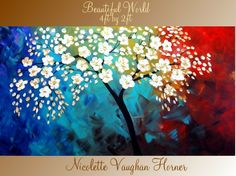 ORIGINAL X Large gallery wrap canvas modern mixed media impasto trees fine art painting by Nicolette Vaughan Horner