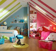 @AmberandBrett Helman this blog post has a number of great shared bedroom ideas! The one pictured is particularly suited to your house (dormer-ed upstairs) and kids (different genders)!