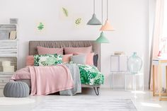 Buy Pastel bedding on stylish bed by bialasiewicz on PhotoDune. Pastel bedding on stylish bed in white bedroom with plants White Bedroom Decor, Cozy Bedroom, Bedroom Colors, Bedroom Ideas, Pink Bedroom For Girls, Pink Bedrooms, Teen Boys Room Decor, Boy Room, Stylish Beds