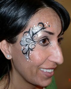 face painting ideas over one eye | Bar Mitzveh, Eye Design, Silver and Black, Face Painting Illusions and ...