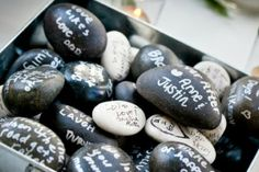 wedding-wishing-stones Best wishes written on beautiful stones for the bride and the groom. A gift which lasts forever.
