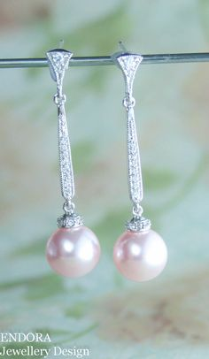 Pink pearl earrings | Long pearl earrings | Pink wedding | pink pearl bridal earrings | www.endorajewellery.etsy.com