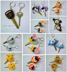 Crochet key covers or cozies inspiration only. Aren%u2019t they CUTE!!!