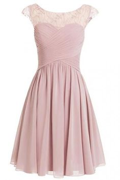Pink Short Chiffon Bridesmaid Dress Featuring Ruched Sweetheart Bodice with Sheer Bateau Neckline and Cap Sleeves