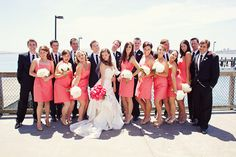 coral/black with turquoise accent wedding