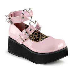 Sprite-02 schoen met enkelbanden, gespen en metalen hart ringen glanzend roze - Emo Gothic