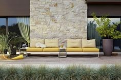A touch of yellow stealing the spotlight on an outside deck, while the space still looks incredibly harmonious don't you think? 💛😍 www.cushionfactory.com.au Outdoor Lounge Cushions, Outdoor Sofa, Indoor Outdoor, Outdoor Decor, Outdoor Furniture Design, Furniture Collection, Minimalism, Patio, Modern