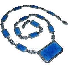 Art Deco Chrome & Enamel Pendant Necklace