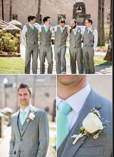 Groomsmen attire. YES. Groomsmen without jackets. Add a coral tie! Possibly navy suits?