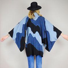Genuine JAPANESE Kimono SILK HAORI draped Robe by NOIROHIOVINTAGE, $165.00