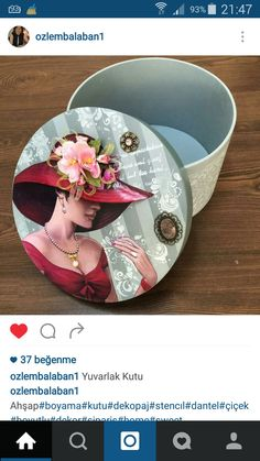 Cigar Box Crafts, Decoupage Plates, Art Impressions Stamps, Painted Trays, Country Paintings, Hat Boxes, Pretty Box, Altered Boxes, Vintage Box