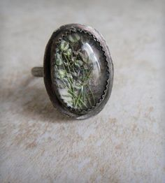 Baby's Breath Under Glass Ring  by Heron and Lamb on Scoutmob Shoppe