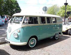 70s VW van, blue mint