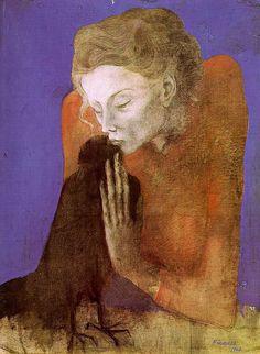 (Woman with raven) Femme a la corneille Artist: Pablo Picasso, 1904, Symbolism Period, Blue Period