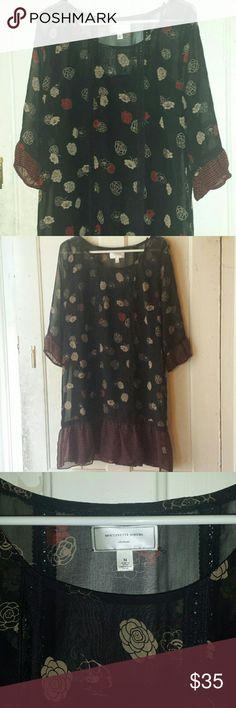 Anthropologie dress Black/tan/red silk anthropologie dress. Come with black slip. Anthropologie Dresses