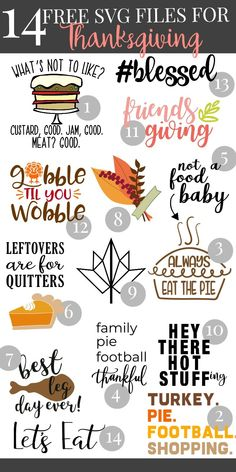 Pull out your Cricut or SIlhouette and celebrate thanksgiving in style! We are sharing 14 free SVG Files that are perfect for Thanksgiving including our own file! Make an easy handmade gift or decorate for fall with a fun cutting machine project! Cricut Fonts, Cricut Vinyl, Svg Files For Cricut, Cricut Air, Marker, Planners, Friends Thanksgiving, Thanksgiving Quotes, Thanksgiving Tshirts