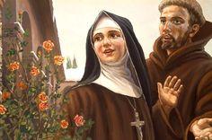 Santa Clara e São Francisco Catholic Religion, Catholic Art, Catholic Saints, Patron Saints, Roman Catholic, Religious Photos, Religious Paintings, St Francisco, Clare Of Assisi