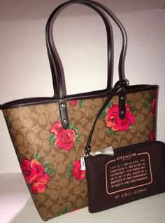 a48e56528f2d NWT-COACH Reversible MATCHING CAMO ROSE TOTE  amp  POUCH SET