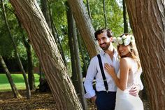 Say your I do's surrounded by stunning nature. Barefoot Bohemian Photo Shoot at the West Mill - Images by The Wardette Studio #bohemian #photo #shoot #wedding #summer #barefoot #nature #trees #bride #flower #crown