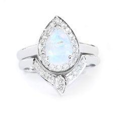 Moonstone Engagement Ring, Gold Moonstone Ring, Engagement Moonstone ring, Birthstone Ring, Pear Moonstone Ring, 14K White Gold Ring by SillyShinyDiamonds on Etsy https://www.etsy.com/listing/478152704/moonstone-engagement-ring-gold-moonstone