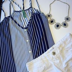 Blue & White striped, button up, Strappy Tank Top Blue and white striped strappy tank top. Button up. Size Small. Excellent condition. 100% rayon. Francesca's Collections Tops Tank Tops