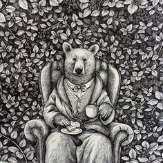 Completed at last, a bear making himself right at home in a blackberry bush. This fellow will be available as a card in my etsy shop by the end of April so make sure to keep a lookout! // Ink drawing on paper ©2015 #rivuletpaper #rivuletpapershop