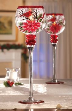 Christmas Cardinal & Poinsettia Stemmed Glass Votive Holder - Goblet-style candleholder has a long-stemmed base with a beautifully painted bowl.Price: $12.99  Link    #Christmas