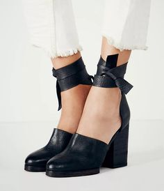 Free People Cora Wrap Heel at Free People Clothing Boutique - New Shoes Styles & Design Shoes Heels Wedges, Lace Up Heels, Black Heels, Black Boots, Women's Shoes, High Heels, Fall Shoes, Summer Shoes, Fashion Shoes