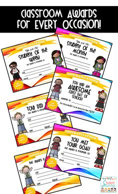 FREE RESOURCE - Awards for Every occasion and celebration - First day of school award & Student of the Month Included!! :)
