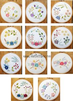 Floral Woven Wheels Embroidery Pattern Pack(Etsy のTheflossboxより) https://www.etsy.com/jp/listing/289573185/floral-woven-wheels-embroidery-pattern