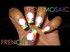 Neon Mosaic French Tip | DIY Nail Art Tutorial - YouTube