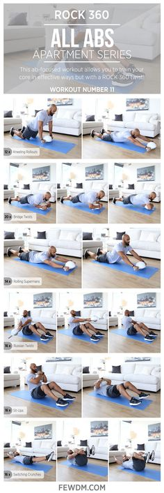 Different positions of use allow you to get the most out of your core workout with ROCK 360!  Workout #11 in the Apartment Series, All Abs!