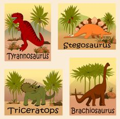 """Kids Dinosaur Art, Canvas Boys, Nursery Room Decor, 4-8"""" X 10"""""""