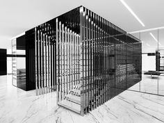 inside Saint Laurent Milan Store Design by Hedi Slimane Interior Staircase, Staircase Design, Interior Architecture, Interior Design, Paris Store, Ysl Store, Hedi Slimane, Design Comercial, Retail Design
