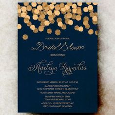 Gold Glittering Confetti bridal shower Invitation printable, navy blue bridal shower Invitation, wedding shower printable winter bridal shower For Matching RSVP and/or Save the Date and other matching Add-ons please check here: Navy Bridal Shower, Gold Bridal Showers, Blue Bridal, Wedding Navy Blue, Gold Wedding Colors, Winter Wedding Invitations, Bridal Shower Invitations, Faire Part Invitation, Invitation Wording