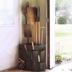 Corner Garage Storage Rack with Storage Pouch Rakes Shovels Brooms #ad