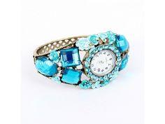 Fashion-Armbanduhr - Art Luxuriöse Mix Farberhinestone Armbandstulpe Uhr Turquoise Bracelet, Bracelet Watch, Watches, Bracelets, Accessories, Jewelry, Jewerly, Jewlery, Bijoux