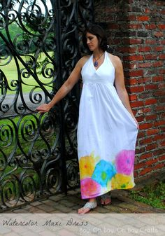 Watercolor halter maxi dress tutorial