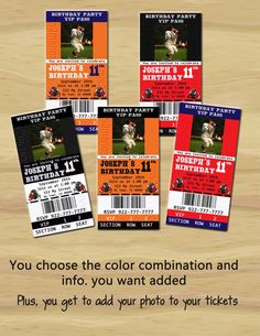 Football Theme Party Printable Ticket by M2MPartyDesigns on Etsy, $10.00