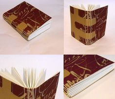 Sketchbook with calligraphy on the cover. Crossed-structured binding with longstitch sewing.