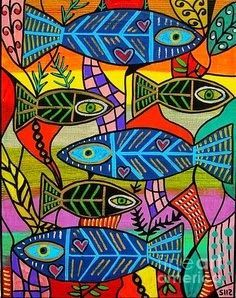Kinder fish. Warm and cool colors. Pattern. Shapes.