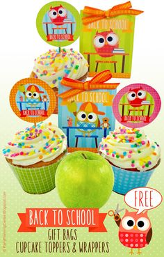 FREE Printable Back 2 School Cupcake Toppers, Wrappers and Gift Bags | These adorable, colorful owls are ready to get back to school! | Printables include color-coordinated cupcake toppers and wrappers with easy-to-make matching foldable one-sheet gift bags.  #Back2School #BacktoSchool #BacktoSchoolPrintables #GiftBags  #BacktoSchoolFoodIdeas #CupcakeIdeas #CupcakeToppers #CarlaChadwick Back To School Party, Back To School Gifts, School Parties, School Cupcakes, Printable Designs, Free Printable, Fun Party Themes, Childrens Party, Party Printables