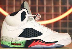 Air Jordan 5 Retro White/Infrared Poison Green-Black www. Air Jordan Retro, Jordan V, Jordan Shoes, Jordan Release Dates, Nike Shoes, Sneakers Nike, Walk In My Shoes, Newest Jordans, Foot Locker