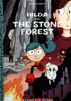 """Graphic Novel shelf:   """"Hilda is hardly at home any more, seeking days filled with excitement, and her mother can't help but worry... In a moment of tension, the pair find themselves flung far away into a mysterious, dark forest--the land of the trolls! Can they work together to escape the clutches of these sinister stone creatures?"""""""