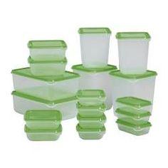 IKEA - PRUTA, Boîtes de conservation, 17 pièces, Une série complète de boîtes pour conserver aussi bien la charcuterie et le fromage que les restes ou les portions individuelles.Plusieurs récipients alimentaires vides peuvent s'empiler les unes à l'intérieur des autres pour gagner de la place dans vos éléments de rangement.Conservez vos restes de nourriture dans un récipient alimentaire pour les réutiliser ultérieurement et réduire ainsi le gaspillage alimentaire.Récipient…