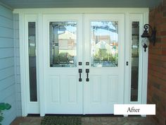 Classic Style PlastPro Smooth Fiberglass double entry doors with double sidelights. Model DRS61 with Metropolis Glass