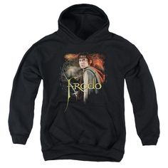 Lord Of The Rings Frodo Youth Pull-Over Hoodie - Black. He's the hero of Middle Earth, the one who overcame tremendous hardship and dismal odds to rid the world of the Ring of Power. Because he succeeded, the Fourth Age will be one of freedom rather than darkness. On this LOTR hoodie, Frodo stands warily with his trusted sword, Sting,while Mt. Doom and Barad-dur loom ominously in the distance. Now you can show your admiration for Frodo's courage and strength every time you wear it…