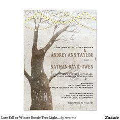 Shop Late Fall or Winter Rustic Tree Lights Wedding Invitation created by riverme. Winter Wedding Invitations, Wedding Invitation Templates, Red Bouquet Wedding, February Wedding, Tree Lighting, Celebrity Weddings, Wedding Cards, Lights, Rustic