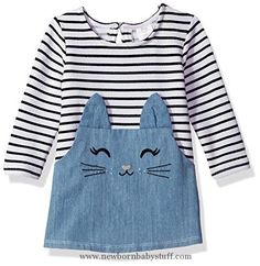 Baby Girl Clothes Youngland Baby Girls' Stripe Denim Cat Face Tunic Dress, Denim/Multi, 12M